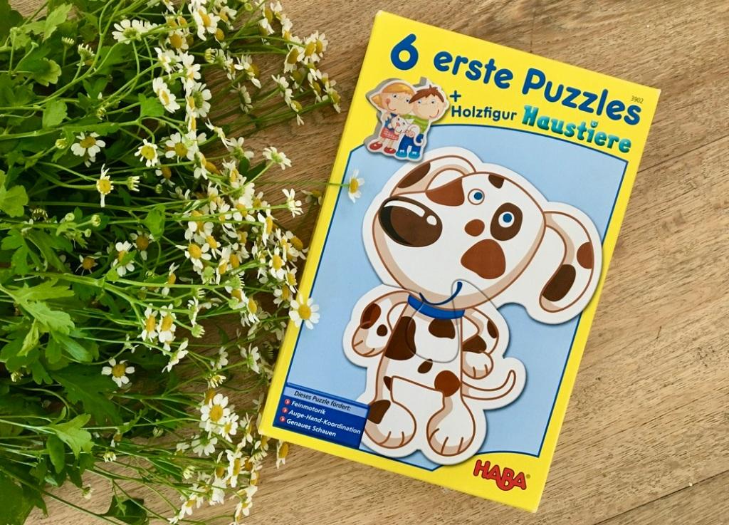 Sechs erste Puzzles Haustiere